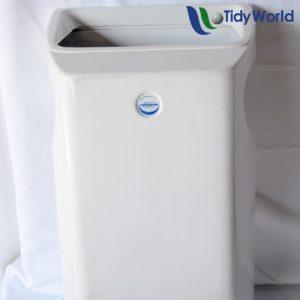 White plastic wall mounted bin